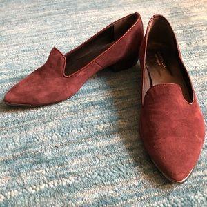 Carvela Kurt Geiger suede plum loafers.